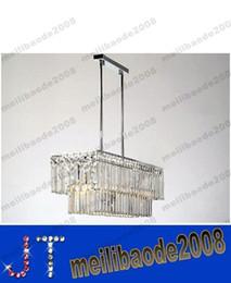 Promotion pendeloques de cristal 65 * 19 * 62 cm Rectangle cristal poli Chrome Pipe érigé plafond lampe Restaurant salle à manger moderne pendentif lumineux restaurant MYY13069A