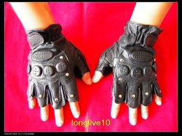 Wholesale Pu leather gloves Half Finger Airsoft Paintball tactics Leather Gloves drop shipping