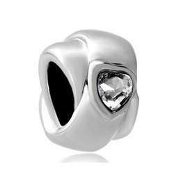 Clear Crystal Heart Love Ring European Bead Fit Pandora Chamilia Biagi Charm Bracelet