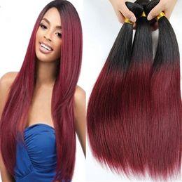 Deux tonalité de cheveux de couleur droite cheveux extensions Brésilienne cheveux de cheveux humains de la Vierge HLSK cheveux reine produit 10inches - 30 pouces Livraison gratuite de DHL à partir de 12 pouces cheveux humains deux tons fabricateur