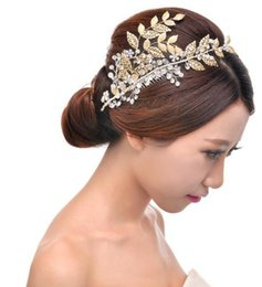 Retro combs diamond crystal pure manual gold leaf wedding dresses the bride headdress modelling hair accessories