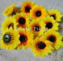 Wholesale 1000pcs Artificial Flowers Silk sunflower heads Flower Simulation flowers Decorative for Party wedding Home