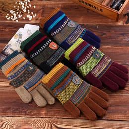 Wholesale-Fashion Retro Women Men Knitting Gloves Full Finger Chunky Warm Winter Gloves Fleece Inside Hand Warm Knit Gloves for Winter