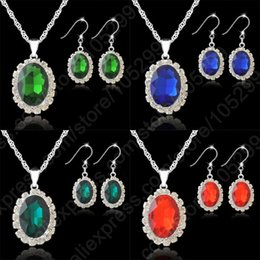 Wholesale 2014 New Real Pure Fine Sterling Silver Jewelry Sets Austrian Crystal Water Drop Pendant Necklaces Hook Earrings