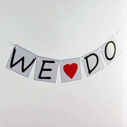 Wholesale-Paper Wedding Banners- We Do-Wedding Photo Prop Card Bunting -Personality Wedding Sign - Vintage Party Decoration Garland