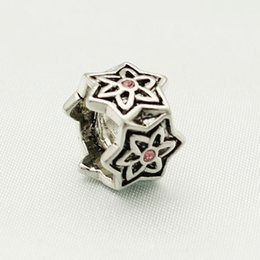 Wholesale Pink Crystal Rhinestone Hexangular Star Rhodium Plating Flower Large Hole Charm Bead Fits Pandora Charm Bracelet