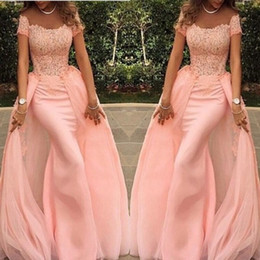Pink Off Shoulder Prom Dresses 2015 Fashion Mermaid With Detachable Train Fashion Trumpet Sweep Train Formal Party Evening Gowns