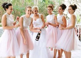 Wholesale Vestido De Festa Curto Pretty Pale Pink Short Lace Bridesmaid Dresses With Sashes Sleevless A Line Maid of Honor Dresses New Wedding party