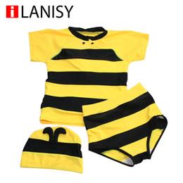 Wholesale 2016 hot sale new cartoon boys swim trunks Bee style boys swimwear three piece suit boy swimsuit