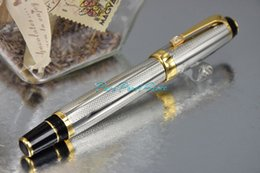 Wholesale PURE PEARL MB BOHEME Series High Quality Best Design Silver Color Roller Ball Pen with Wave Cover