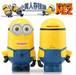 Wholesale Baby Kids Children gift Despicable me figure Whimsy Cartoon coin minions pvc Vinyl Money Piggy bank Collection box D Toys Robot