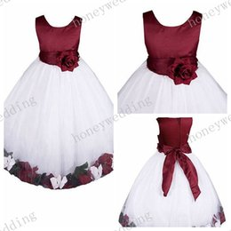 Wholesale hotest Flower Girl Dress round Neck A Line Princess dress Handmade petal Bowknot trim Girls Ball Gown Junior Bridesmaid Dresses colors