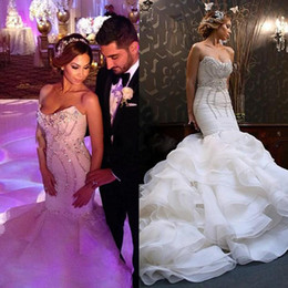 2019 New Arrival Fall Dress for Bride Mermaid Luxurious Crystal Wedding Dresses Formal Bride Dress Organza Ruched
