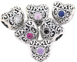 100% Sterling Silver Charms 925 Hollow Out Heart European Charms for Bracelets DIY Beads with Rhinestone