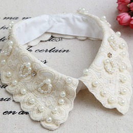 Hot New Women Detachable Collar Shirt Fake Collars with Pearls Decoration Ladies Lace False Collar Necklaces Beige OJ0027 kevinstyle