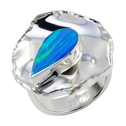 Modern shimmering water drop opal gemstone sterling silver rings Adjustable specialized design for lady for R6519