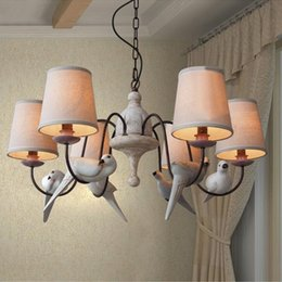 Wholesale 3 different style resin handmade birds pigeons doves flax pendant light E27 Parlour Diner Bedroom Hotel Cafe bar application