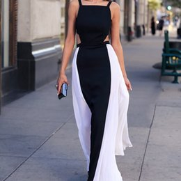 Women Summer Fashion Elegant Hollow Out Tank Top Black and White Sleeveless Striped Maxi Long Dress