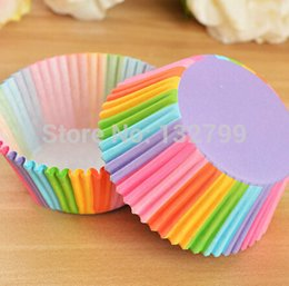 Wholesale-100pcs Rainbow Paper Cake Cups Cupcake Liners Wrapper Cases Baking Muffin Dessert DIY Wedding Party Decorations