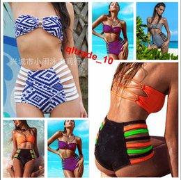 Wholesale 300 TOPB4777 color women neoprene bikinis high waist swimsuits Sexy Triangle Push Up Bikini lady printed Bath Suit swimwear Bandage bras