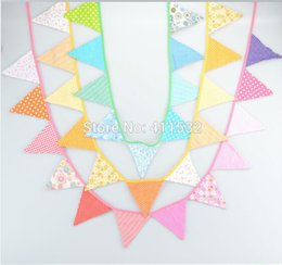 Wholesale 1pc Colorful Handmade Fabric Flags Bunting Banner for Kid s Birthday Party Supplies Baby Shower Home Decoration