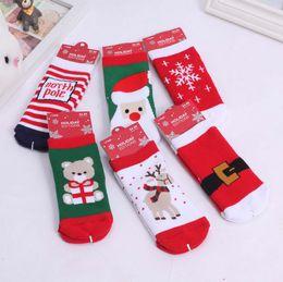 2015 New Red Santa Socks Snowman Deer Christmas Tee Patter Kid Gift Stockings Christmas Stocking Christmas Accessories