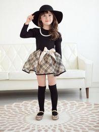 Wholesale Long sleeve baby dresses for girls Polka Dot Bow Tu Tu party dress England grid Children s Dresses Color