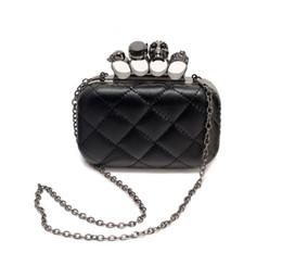 Wholesale-new vintage Skull purse Black Skull Knuckle Rings Handbag Clutch Evening Bag The chain inclined shoulder bag js290