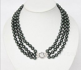Wholesale gt gt gt Amazing rows round mm black sea shell pearls necklace ss E2266