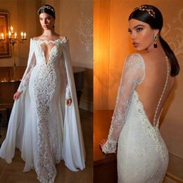 Mermaid Elegant Lace Applique Wedding Dresses with Detachable Chiffon Cloak Deep Neck Long Sleeve Sheer Back Bridal Gown Train