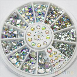 Wholesale 5 Sizes Nail Art Tips Crystal Glitter Rhinestone D Nail Art Decoration Wheel beauty accessory for women nails