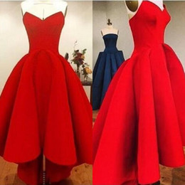 Cheap High Quality Red Satin High Low Prom Dresses Simple Sweetheart Neckline Sleeveless Arabic Evening Party Gowns Homecoming Wear