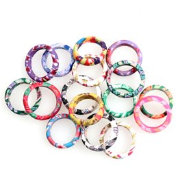 Wholesale MIC New Fashion Mix Color Thin Polymer Clay Rings Fimo Brand Rings Ring mix sizes Jewelry