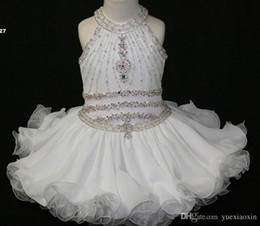 Elegant White Cupcake Toddler Pageant Dresses Halter Beaded Princess Gown First Holy Communion Short Flower Girl Gowns for Wedding Party