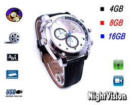 Wholesale Spy Watches Support - 100% New SPY Cameras 8GB 16GB IRW-H1 High Definition 1920 * 1080P Watch Leather Wristbands Digital Video Recorder Supports IR Camera