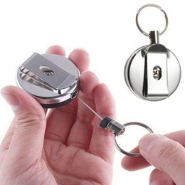 Wholesale TOP x Useful Retractable Metal Card Badge Holder Steel Recoil Ring Belt Clip Key Chain