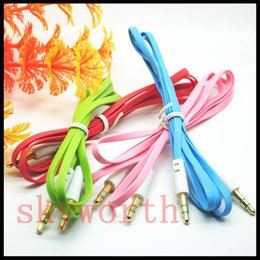 Colorful 3.5MM Audio Cable Flat Noodle Aux Car Audio Cable Cord for iPhone for MP3  MP4 for ipad Samsung Galaxy Tablet PC