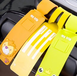 Wholesale NEW fashion Cartoon Silicone plane LUGGAGE TAG lovely D animal Yellow duck frog panda lion Travel bag tag bag tag Toys best gifts cc108