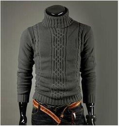 Wholesale New fashion homens Pullover camisola de gola alta camisola de lã inverno puxar Homme homens Plus Size padrões homens camisolas dos homens