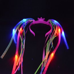 Wholesale Women Girls Cool Light Up Braids Crown Headband Led Flashing Blinking Light Party Hair Accessories Led Rave Hair Accessories Toy