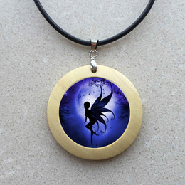 free shipping Handmade glass cabochon Fairy necklace Fairy wooden pendant jewelry vintage style Glass Cabochon moon necklace jewelry 249