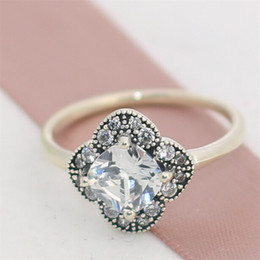 Fashion Jewelry Ring Women Ring European Style High-quality 100% 925 Sterling Silver Crystalized Floral Fancy Ring with Clear CZ