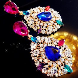 Wholesale New Arrival Korea jewelry exaggerated colored crystal inlay earrings Bridal earrings nightclub king earring gemstone earring long section