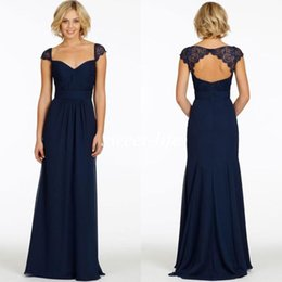 Wholesale Light Blue Lace Evening Gowns - Custom Made 2015 Dark Navy Bridesmaid Dresses Cheap Chiffon Sweetheart Cap Sleeve Backless A-Line Vintage Evening Dress Long Party Prom Gown