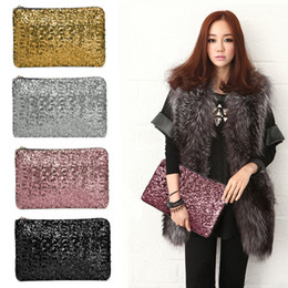 Women Ladies Dazzling Glitter Sparkling Bling Sequin Clutch Purse Evening Party Handbag Bag 4 Colors 10Pcs Lot Free Shipping