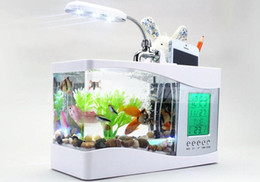 Wholesale 2015 Christmace Gifts Mini USB LCD Desktop Lamp Light Fish Tank Aquarium LED Clock White Black