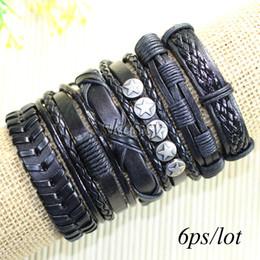 Free shipping wholesale (6pcs lot) zinc alloy bangles ethnic tribal genuine adjustable leather bracelet for men-TE46