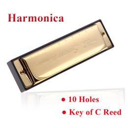 Swan 10 Trous clés diatonique de C Reed Melodica acier inoxydable Mini harmonica blues Instrument de musique avec Silver Case or à partir de harmonica diatonique c cygne fabricateur