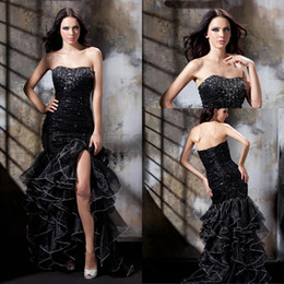 Sexy Design Mermaid Sweetheart Prom Dresses Floor Length Black Beaded Organza Party Dresses With High Split Pageant Dresses With Ruffles