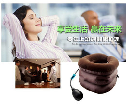 Wholesale Brown Three Layers Neck Traction Massager Collar Relief Cervical Traction Device Neck Massager Pillows Neck Massage Comfortable non threaten